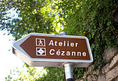 Aix-en-Provence, France: A directional road sign to Cezanne's studio in Aix-en-Provence.