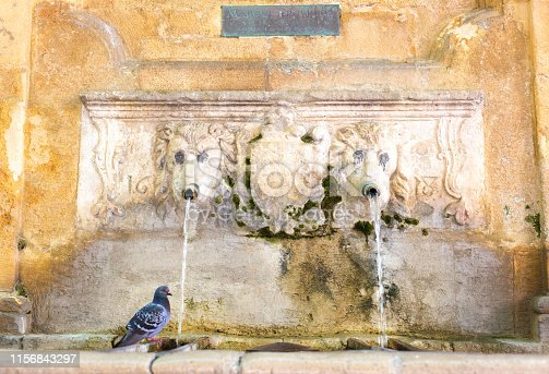 Aix-en-Provence, France: The Espeluque Fountain (with a pigeon) in central Aix-en-Provence, the oldest fountain in town, dating from 1618.