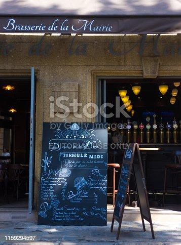 Aix-en-Provence, France: A handwritten blackboard menu outside a brasserie-restaurant in downtown Aix-en-Provence, France.