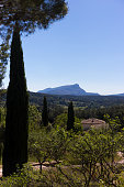 Picture of Sainte Victoire mountain in winter, surrounded by a typical Provence forest