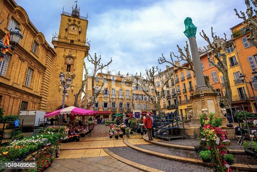 Aix-en-Provence, France - April 21: The traditional flower market in the Old Town of Aix, on April 21, 2016 in Aix-en-Provence, France
