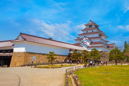 Aizuwakamatsu Castle And Cherry Blossom In Fukushima Japan Stock Photo Download Image Now Istock