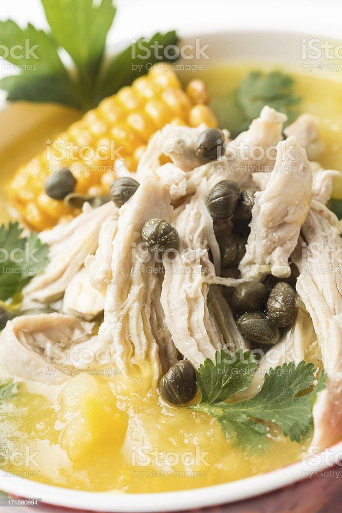 Ajiaco (colombian chicken potato soup) stock photo