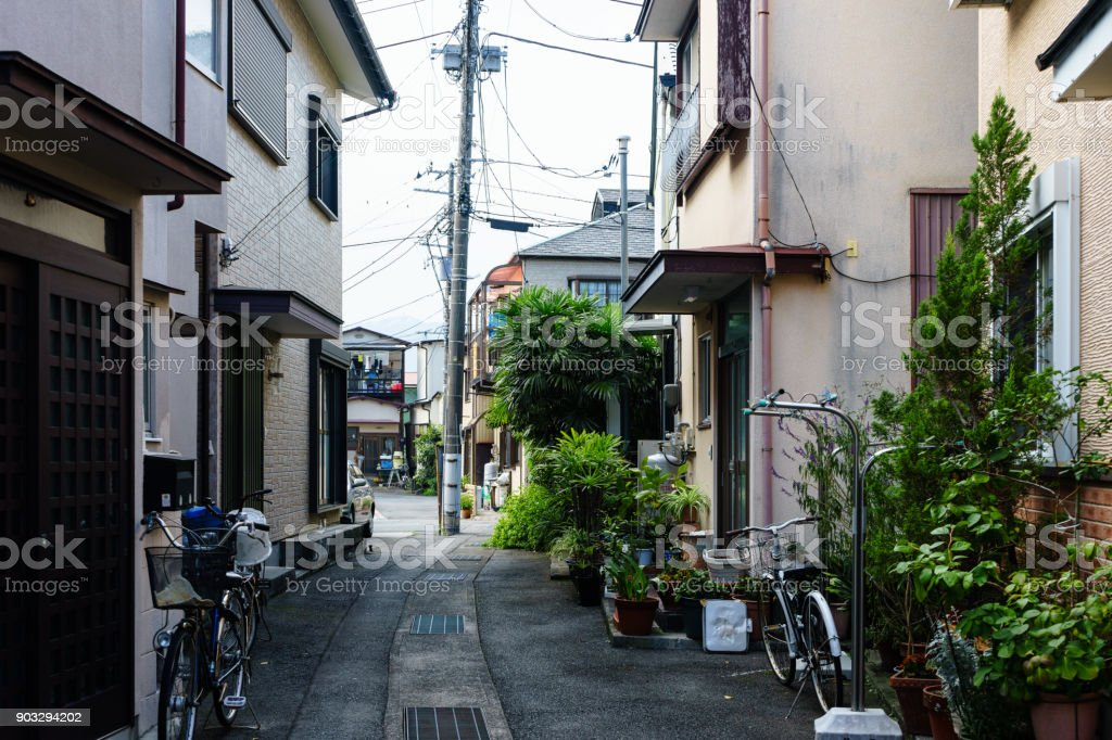 Ajiro residential street alley stock photo