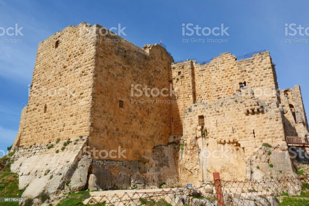 Ajloun Castle, Muslim castle built by the Ayyubids in the 12th century, enlarged by the Mamluks, on a hilltop belonging to the Mount Alun district in the Jordan Valley, Middle East stock photo