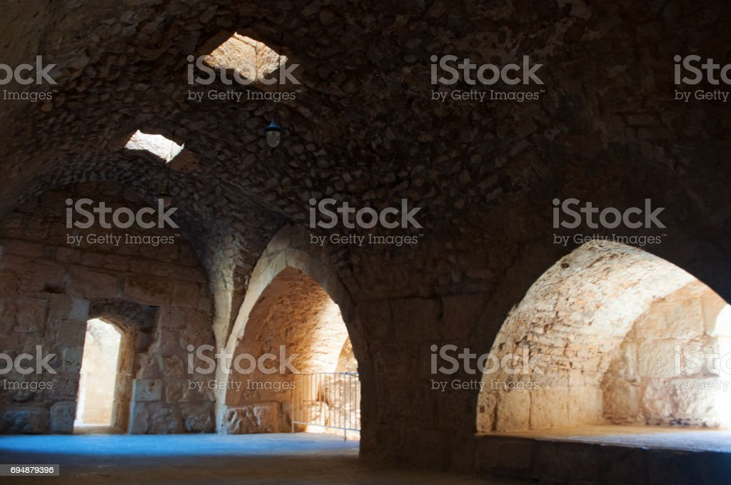 Ajloun: interiors of Ajloun Castle, Muslim castle built by the Ayyubids in the 12th century, enlarged by the Mamluks, on a hilltop belonging to the Mount Alun district in the Jordan Valley stock photo
