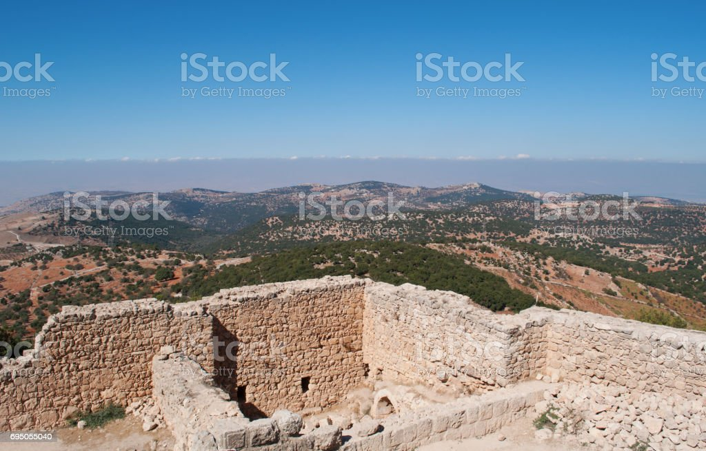 Ajloun: the Jordan Valley seen from the Ajloun Castle, a Muslim castle built by the Ayyubids in the 12th century, enlarged by the Mamluks, on a hilltop belonging to the Mount Alun district stock photo