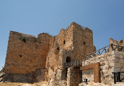 Ajlun, Jordan: Ajlun castle seen from the moat - Qala'at al Rabadh - a crusades period fortress built by Izz al-Din Usama, a nephew of Saladin - Kurdish Ayyubid dynasty - Jabal Auf hill - photo by M.Torres