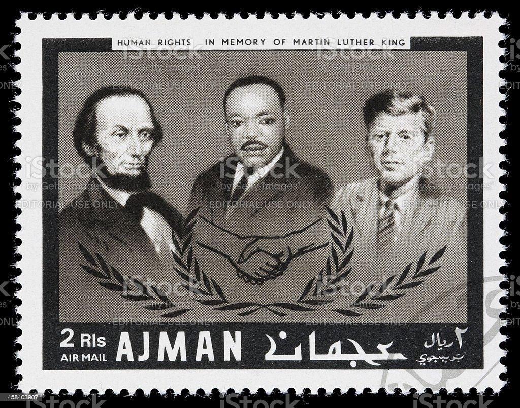 Ajman human rights leaders postage stamp stock photo