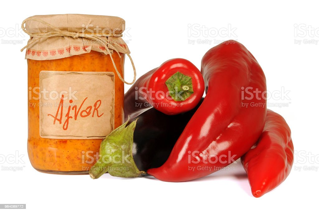Ajvar, a delicious roasted red pepper and eggplant dish. Serbian and Macedonian traditional dish stock photo