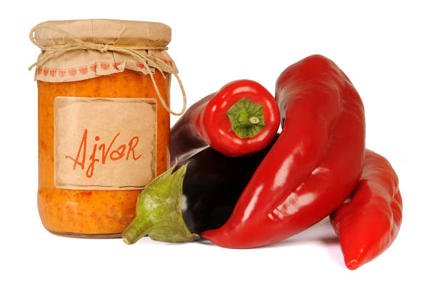 Ajvar, a delicious roasted red pepper and eggplant dish. Serbian and Macedonian traditional dish – zdjęcie