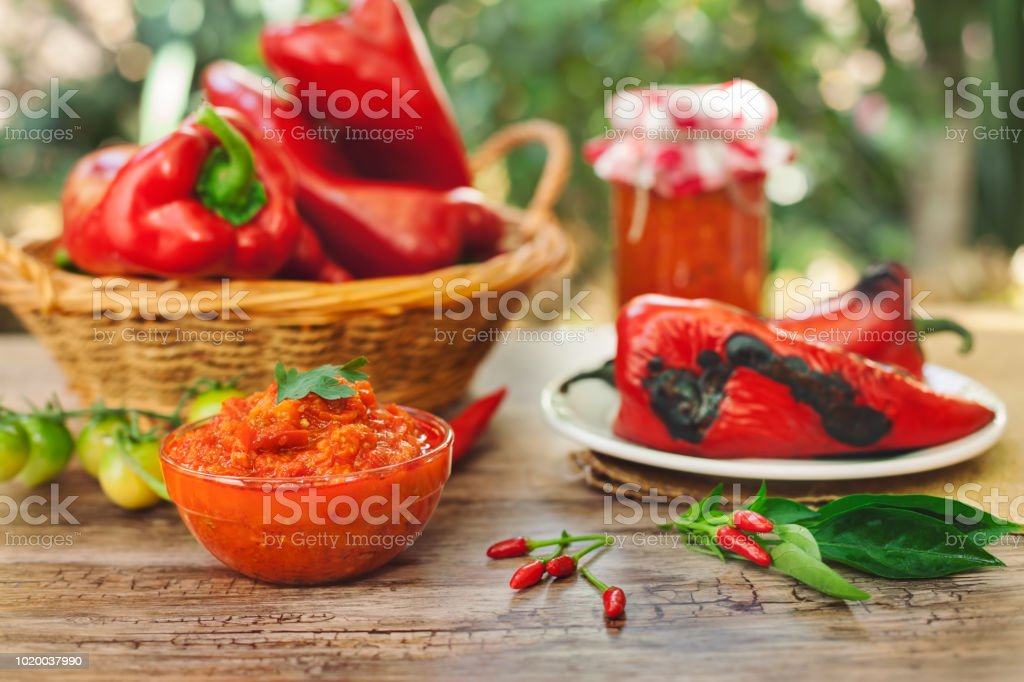 Ajvar,tasty dish of roasted red peppers stock photo