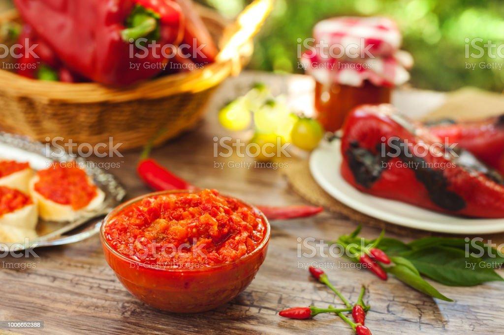 Ajvar-traditional quality Serbian specialty stock photo