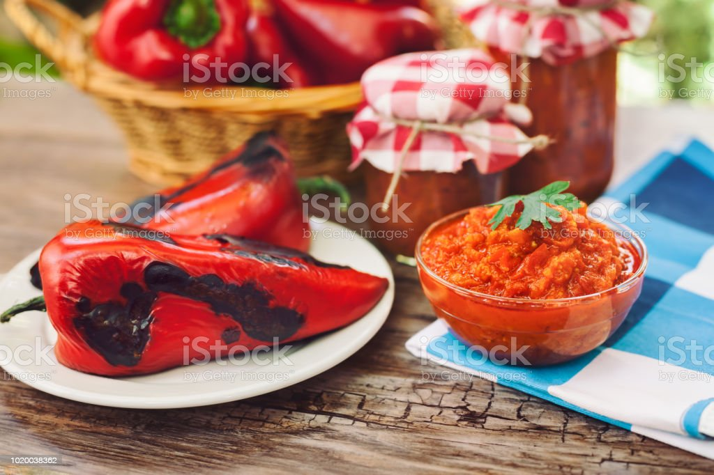 Ajvar-traditional Serbian dish stock photo