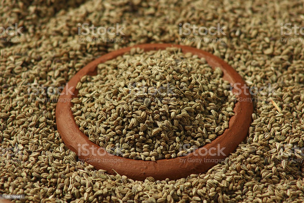 Ajwine/Carom Seeds is an uncommon spice used for flavour stock photo