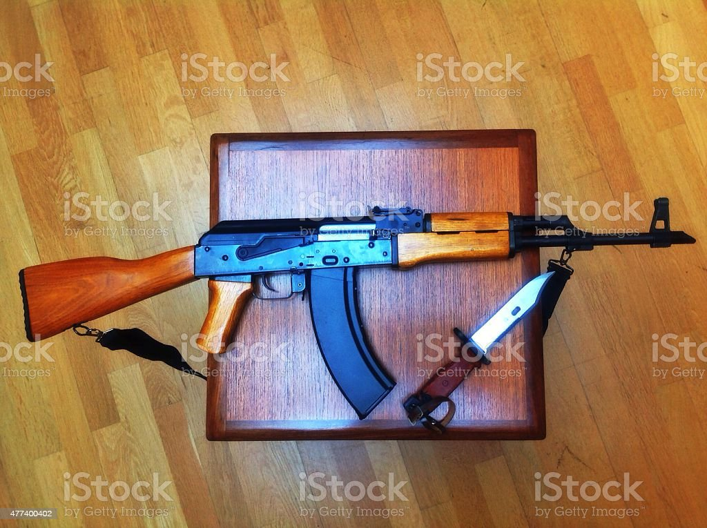 Ak47 And Bayonet Birds Eye View Stock Photo - Download Image