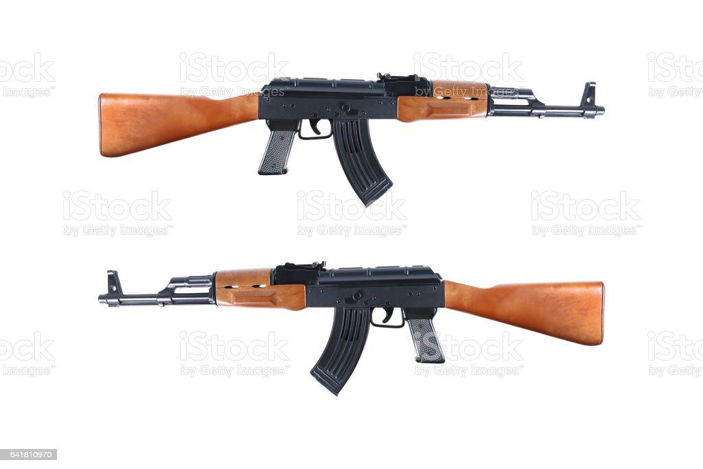 ak47 automatic shotgun toy isolated on white stock photo