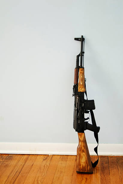 ak-47 with space for text stock photo