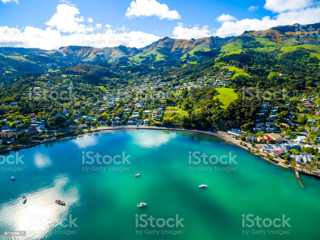 Akaroa Aerial View stock photo