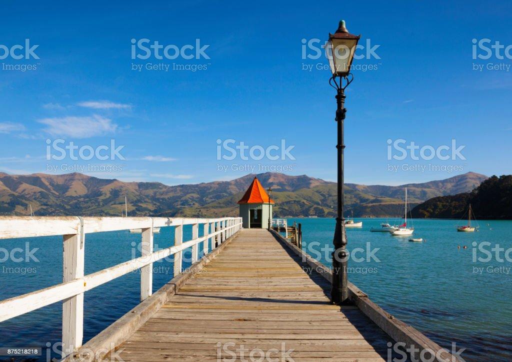 Akaroa Pier On New Zealand's South Island stock photo