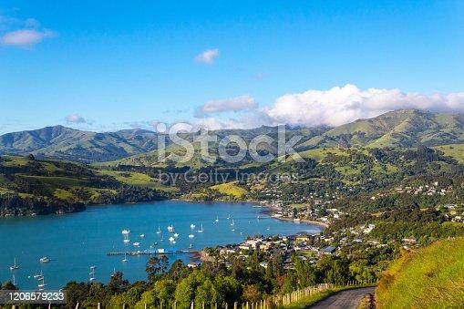 Akaroa scenic view, Banks peninsula, South Island, New Zealand, right before sunset