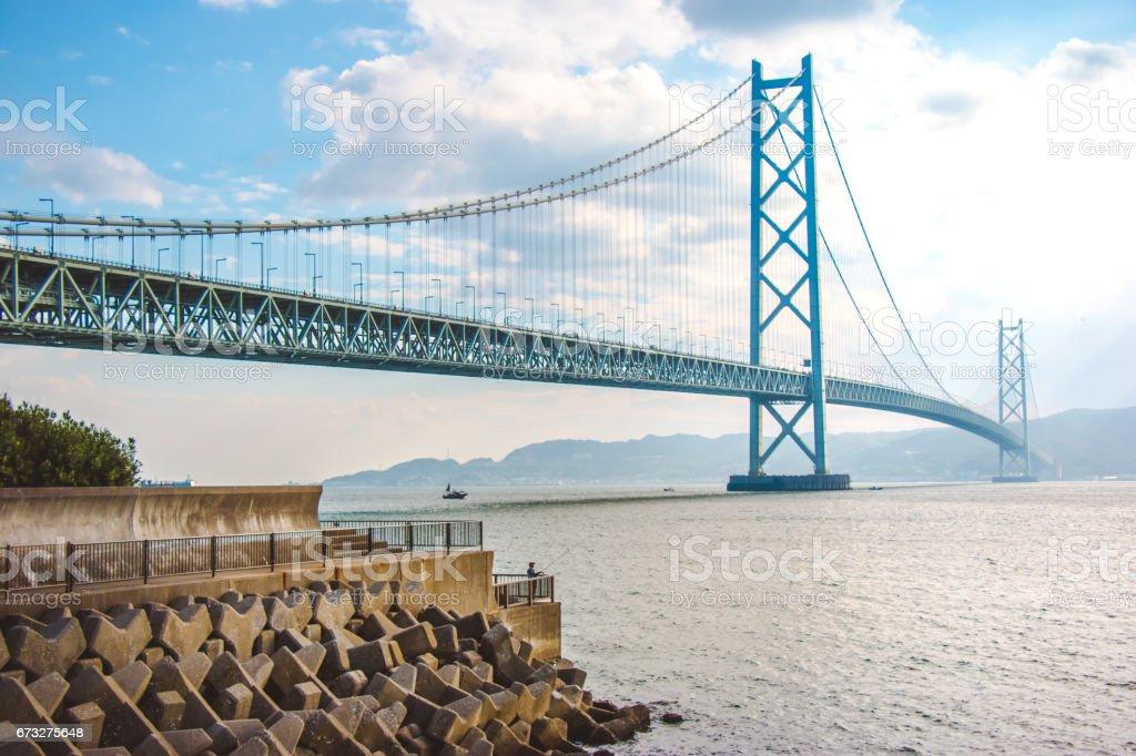 Akashi Kaikyo Bridge in Kobe Japan royalty-free stock photo