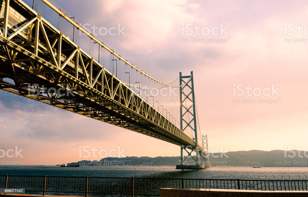 Akashi Kaikyo bridge in kobe , Japan stock photo