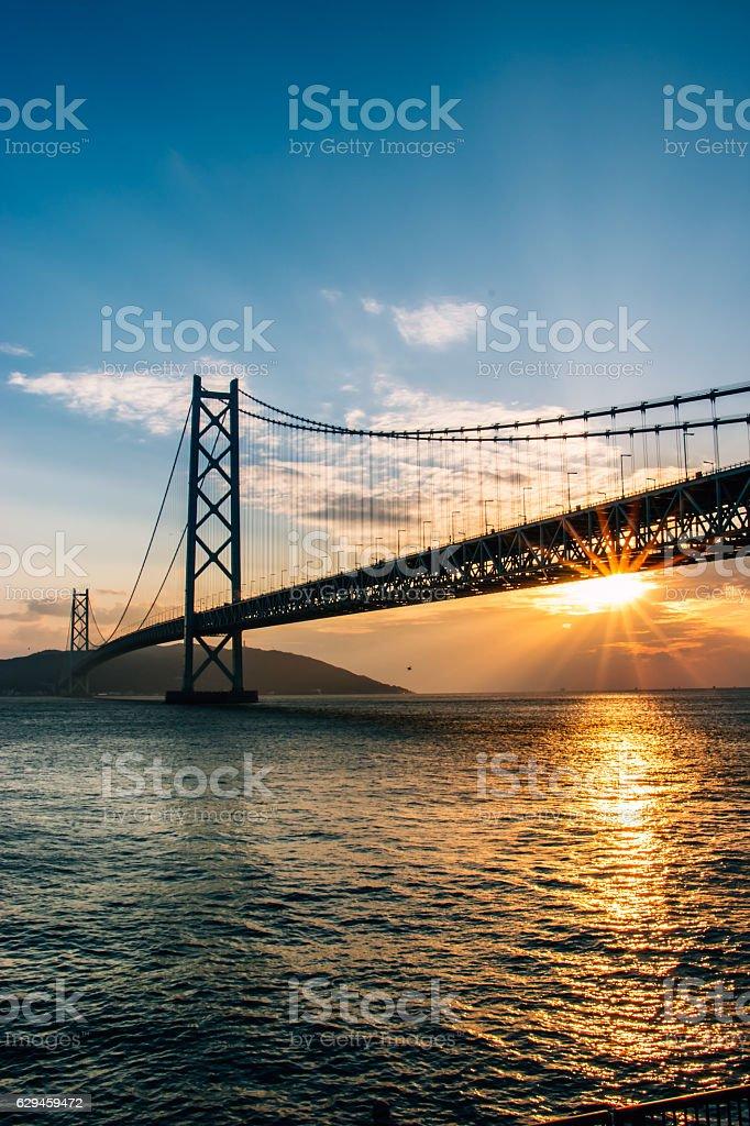 Akashi Kaikyo Bridge Seto Inland Sea in Kobe Japan stock photo