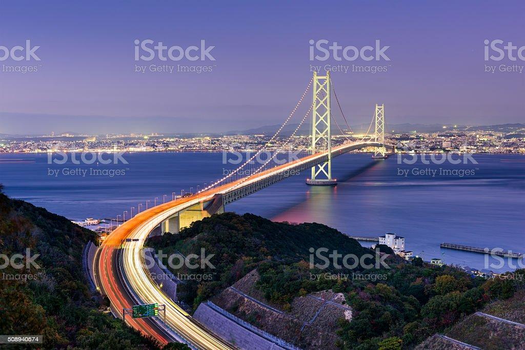 Akashi Kaikyo Ohashi Bridge stock photo