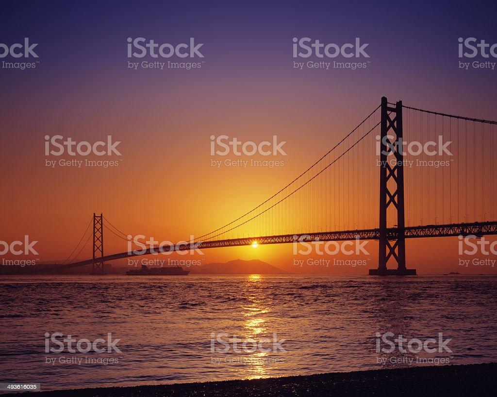 Akashi-Kaikyo Bridge in the morning stock photo