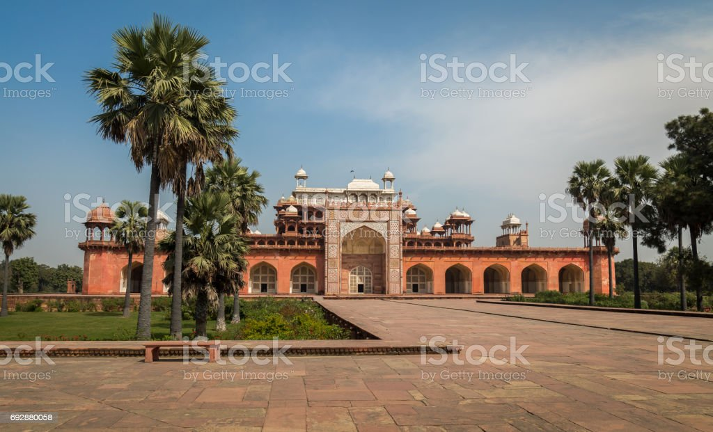 Akbar's Tomb at Sikandra Agra - A classic Mughal Indian architectural structure of Medieval India. stock photo