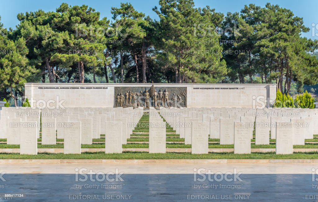 Akbas Martyrs Cemetery and Memorial in Canakkale,Turkey. stock photo