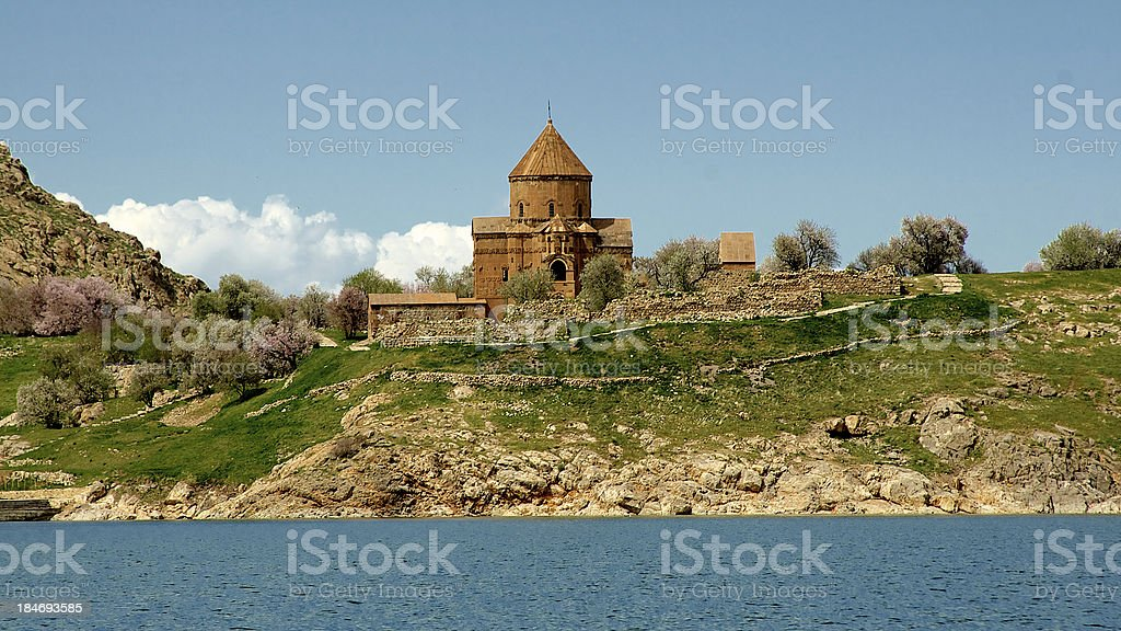 Akdamar Island church on Van Lake Turkey. stock photo