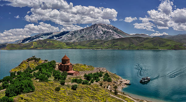 Akdamar Island Turkey. Akdamar Island (Akdamar Adasi) in Van Lake (Eastern Anatolia). The Armenian Cathedral Church of the Holly Cross (from 10th century) armenian culture stock pictures, royalty-free photos & images