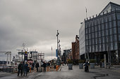Cloudy evening at Aker Brygge during the covid-19 pandemic. Oslo, Norway