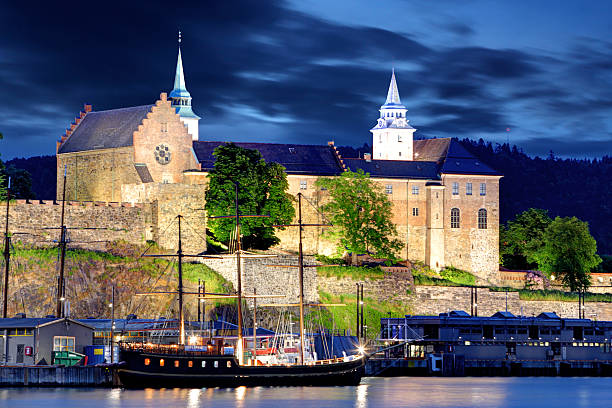 Akershus Fortress at night, Oslo, Norway Akershus Fortress at night, Oslo, Norway oslo stock pictures, royalty-free photos & images