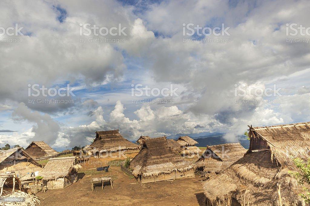 Akha Minority village in Northern Laos. stock photo