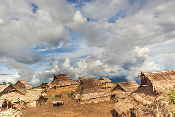 akha minority village in northern laos. - minority stock photos and pictures