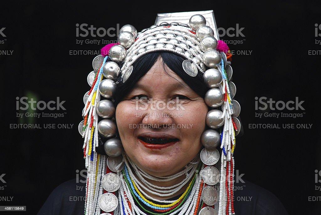 Akha tribe Woman with black teeth royalty-free stock photo