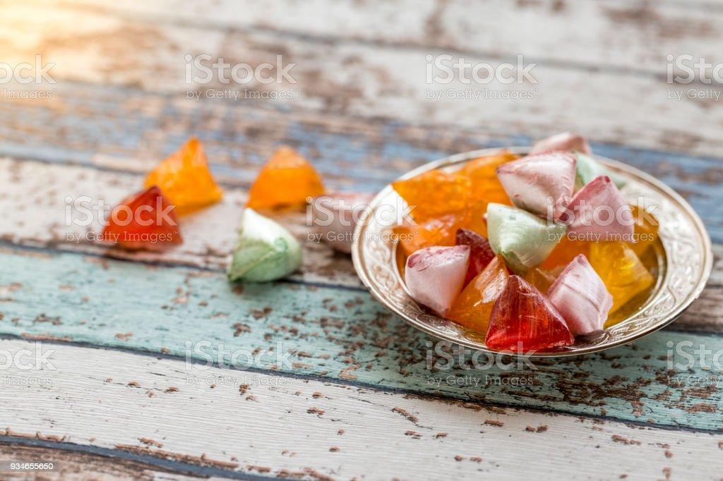 Akide (şeker) vintage tablo eski metal plaka üzerinde şekerler stok fotoğrafı