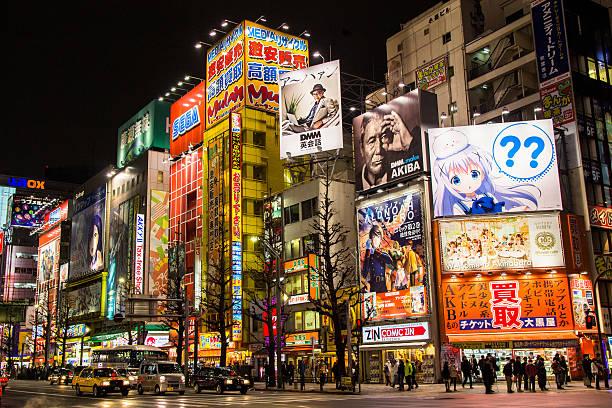 akihabara, tokyo, japan - manga style stock photos and pictures