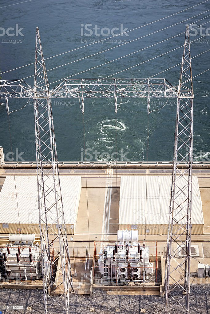 Akosombo Hydroelectric Power Station on the Volta River in Ghana stock photo