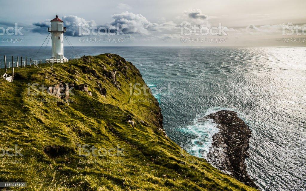 Akraberg lighthouse, Faroe Islands стоковое фото