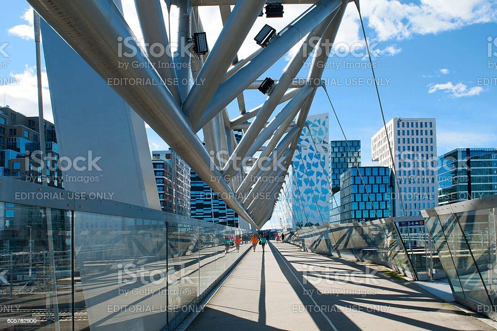 Akrobaten pedestrian bridge and Barcode in Oslo stock photo