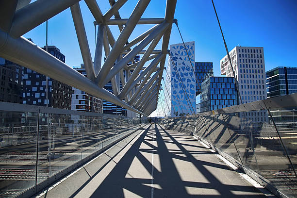 Akrobaten pedestrian bridge in Oslo, Norway stock photo