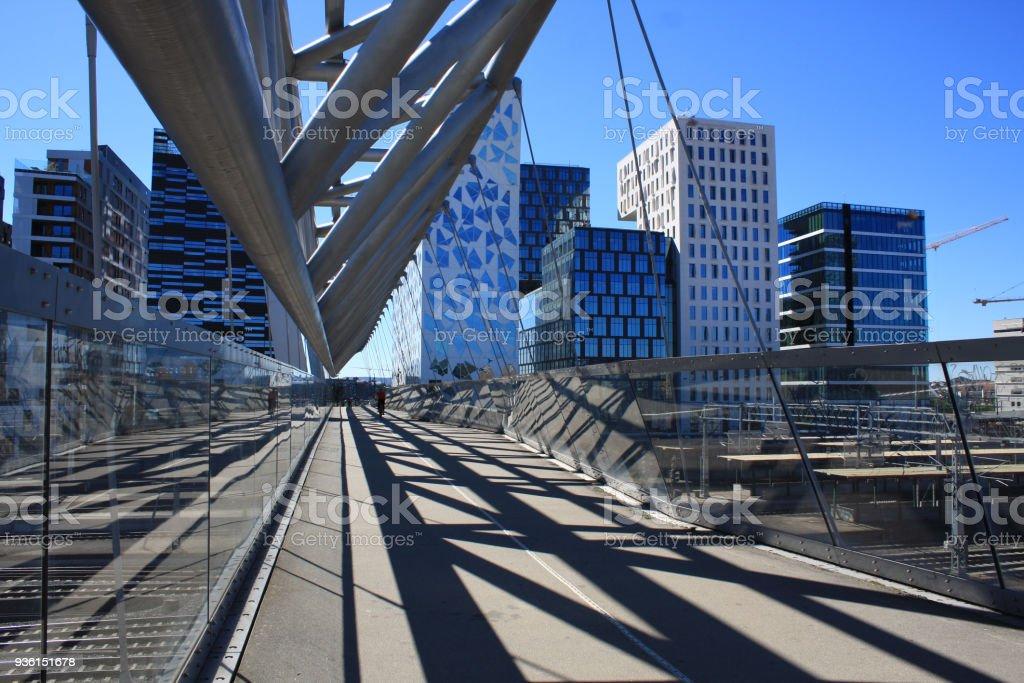 Akrobaten pedestrian bridge in Oslo, Norway stock photo