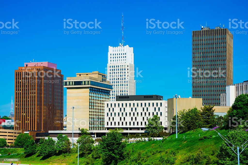 Akron downtown skyline closeup stock photo