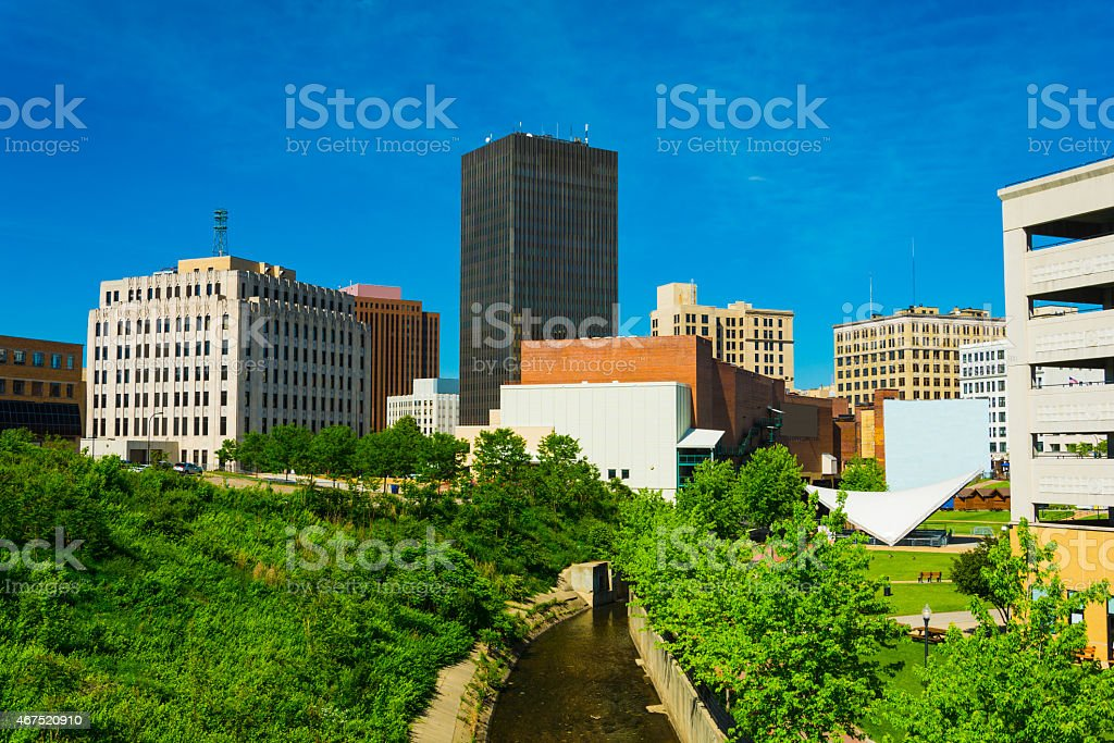 Akron downtown skyline, trees, and the Ohio and Erie Canal stock photo