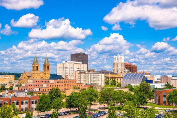 Akron, Ohio, USA downtown city skyline stock photo
