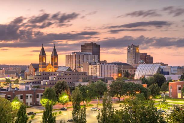Akron, Ohio, USA downtown skyline stock photo